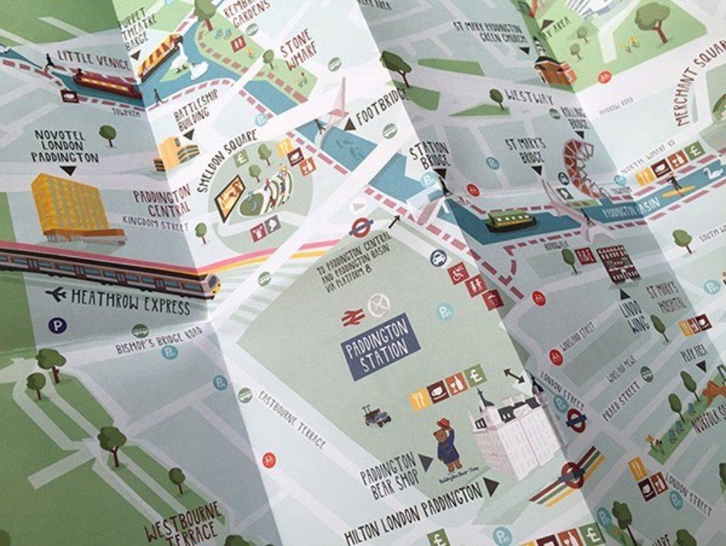 Download Map London.Illustrated Paddington London Map Paddington
